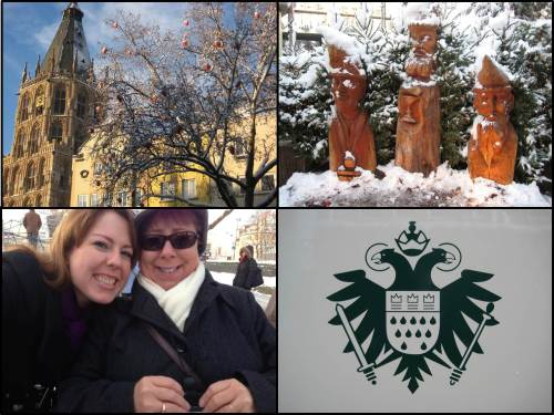 Clockwise from Top Left: Cologne's Town Hall, wood carvings outside of a Christmas market, Cologne's coat of arms, travel buddies for life