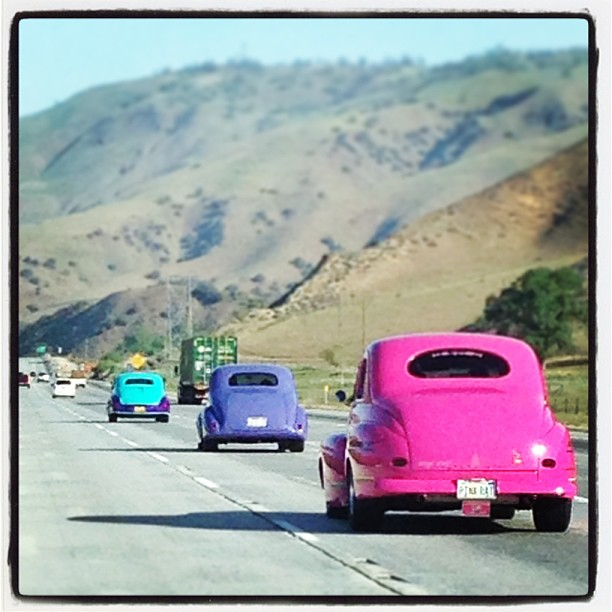 I saw a lovely trio of colorful cars on my last road trip.