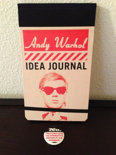 "A super cool Andy Warhol flip notebook and a button to remind everyone that ""no"" is an answer!"