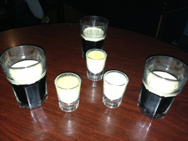 A round of Irish Car Bombs