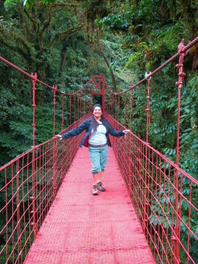 Karen on a hanging bridge